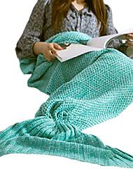 cheap -Travel Blanket Mermaid Blanket Travel Rest Acrylic Knitting Woo Wine / Blue / Purple / Pink