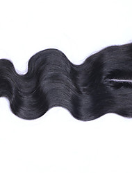 cheap -3.5x4 Inches Bleached Knots Brazilian Human Hair Body Wave Closure Top Quality Free Three iddle Part Lace Closure with Baby Hair