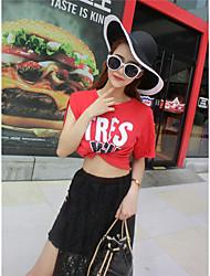 preiswerte -Damen Solide / Buchstabe Sexy Ausgehen T-shirt Rock Anzüge,Rundhalsausschnitt Sommer Kurzarm Rot / Weiß Baumwolle Dünn