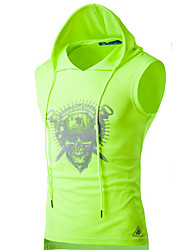 cheap -Men's Daily Sports Active Summer T-shirt,Solid Print Hooded Sleeveless Cotton Thin