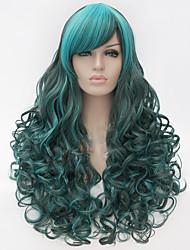 Donna Parrucche sintetiche Senza tappo Onda riccia Verde Parrucca Cosplay costumi parrucche