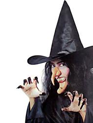 1шт Халоуин декора новизны подарка Террористические украшения COS ведьма шляпа накладные ногти подбородка нос комбинированной ведьмы