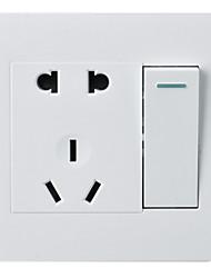 Недорогие -один открытый пять отверстий двойной контроль 1 5 отверстие с переключатель гнездо панели 86 шт выключатель типа скрытая стена / три