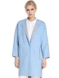 CANTO MOTTO Women's Going out Simple CoatSolid Shirt Collar Long Sleeve Fall Blue Wool / Cotton / Nylon Opaque