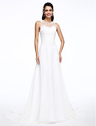 cheap -A-Line Jewel Neck Court Train Chiffon Wedding Dress with Appliques by LAN TING BRIDE®