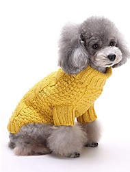 Cat Dog Sweater Dog Clothes Casual/Daily Keep Warm Stripe Yellow Red Costume For Pets