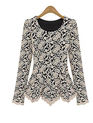 Damen Solide Anspruchsvoll Lässig/Alltäglich T-shirt,Rundhalsausschnitt Herbst / Winter Langarm Weiß / Schwarz Polyester Undurchsichtig