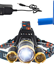 Headlamps LED 3000 Lumens 4 Mode Cree T6 Yes Rechargeable Super Light Dimmable Anglehead for Camping/Hiking/Caving Everyday Use