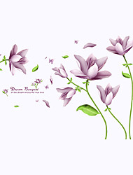 Purple Dream Bouquet Flowers Wall Stickers Fashion Removable Living Room Bedroom Wall Decals