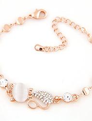 Women Fashion Sweet Cute Little Cat Shiny Rhinestone Chain Bracelet