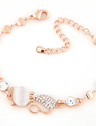 cheap -Women's Rhinestone Imitation Diamond Cat Chain Bracelet - Personalized Cute Style Fashion Adorable Cat Animal Gold Bracelet For Party