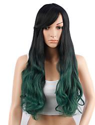 Ženy Zelená Vlnité Umělé vlasy Bez krytky Přírodní paruka paruky
