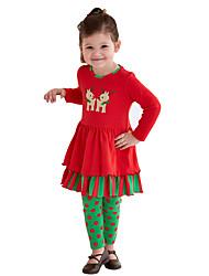 Girls' Daily Polka Dot Print Clothing Set,Cotton Spring Fall Long Sleeve Dot Red