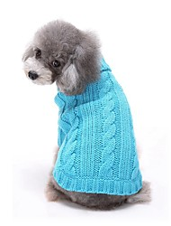 cheap -Cat Dog Sweater Dog Clothes Casual/Daily Solid Red Blue Pink Costume For Pets