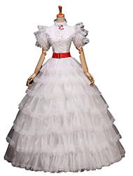 billige -Rokoko Victoriansk Kostume Dame Kjoler Festkostume Maskerade Balkjole Vintage Cosplay Blonde Bomuld Lang Længde Halloween Kostumer / Blomstret