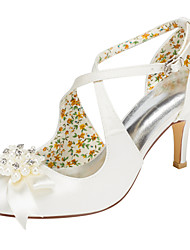 Women's Heels Spring / Fall  Stretch Satin Wedding / Party & Evening / Dress Stiletto Heel Crystal / Pearl Ivory / White