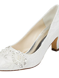 cheap -Women's Shoes Stretch Satin Spring Fall Heels Chunky Heel Round Toe Crystal Pearl for Wedding Party & Evening Dress White Ivory