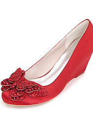 economico -Per donna Scarpe Raso Primavera / Estate Decolleté scarpe da sposa Zero Zeppa Punta tonda Zero Con diamantini / Fiocco Blu / Champagne /