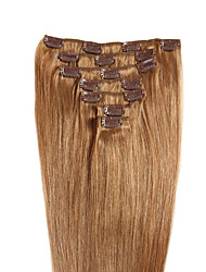 Straight Clip In Human Hair Extensions 7Pcs/Pack Chestnut Brown/Bleach Blonde Medium Brown/Strawberry Blonde Medium Brown/Bleach Blonde