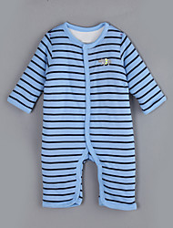 cheap -Baby Daily Striped One-Pieces, Cotton Winter Fall Long Sleeves Light Blue
