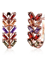 Women's Hoop Earrings Cubic Zirconia Fashion Zircon Alloy Flower Jewelry For Wedding Party Daily Casual Office & Career