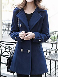 Women's Casual/Daily Street chic Trench Coat,Solid Shirt Collar Long Sleeve Fall / Winter Blue / Red / Yellow Wool / Cotton Thick
