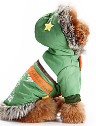 cheap -Dog Hoodie Dog Clothes Letter & Number Red Green Woolen Cotton Down Costume For Pets Men's Women's Casual/Daily Windproof Keep Warm