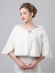 Faux Fur Imitation Cashmere Wedding Party Evening Women's Wrap With Rhinestone Button Pattern Shrugs