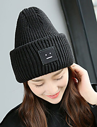 cheap -Women Men Vintage Casual Solid Color Smile Pattern Printed Patch Knitted Hat