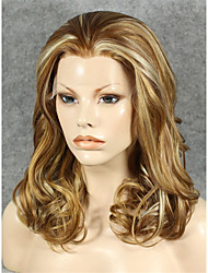 IMSTYLE 16''High Quality Mix Brown Curly Synthetic Lace Wig  Lace Front Hair Cheap