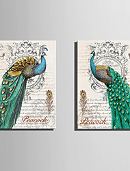 cheap -E-HOME® Stretched Canvas Art Green Peacock Decorative Painting Set of 2