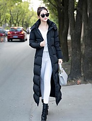 Women's Long Down Coat,Simple Casual/Daily Solid-Cotton Polypropylene Long Sleeve Hooded Black