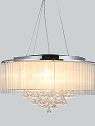 Pendant Light ,  Modern/Contemporary Drum Chrome Feature for Crystal Metal Living Room Bedroom Dining Room