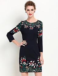 abordables -Mujer Vaina Vestido Noche Sofisticado,Bordado Escote Redondo Sobre la rodilla Manga Larga Negro Otro Verano Tiro Medio Rígido Medio