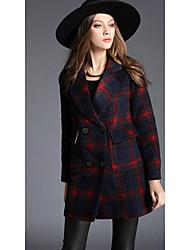 Cappotto Da donna Casual Inverno Semplice,Pied-de-poule Cotone Blu Manica lunga Spesso