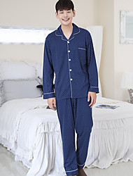 cheap -Men's Shirt Collar Suits Pajamas Solid Colored