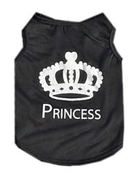 abordables -Chat Chien Tee-shirt Gilet Vêtements pour Chien Tiares & Couronnes Noir Térylène Costume Pour les animaux domestiques Homme Femme Mignon