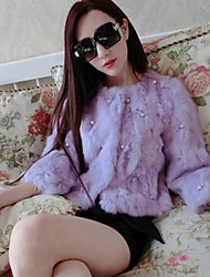 economico -Cappotto di pelliccia Da donna Casual Semplice,Tinta unita Pelliccia di coniglio Rosa / Bianco / Nero / Grigio / Viola Manica lunga