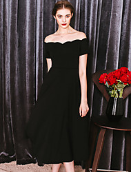 MASKED QUEEN Women's Off The Shoulder Formal Simple Little Black DressSolid Boat Neck Knee-length Short Sleeve Others