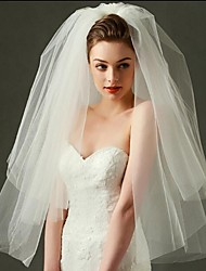 cheap -Two-tier Cut Edge Wedding Veil Blusher Veils Elbow Veils Fingertip Veils With Tulle