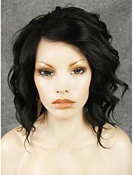 abordables -Pelucas sintéticas Ondulado Pelo sintético Negro Peluca Encaje Frontal
