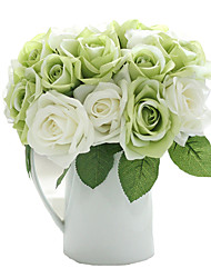 cheap -9 Heads Artificial Roses Bouquet Flowers for Tabletop Home Decor 9.5 inch