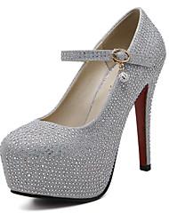 abordables -Femme Chaussures Polyuréthane Printemps Automne Confort Chaussures à Talons Talon Aiguille Bout rond Pour Argent