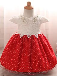 abordables -Robe Fille de Sortie Points Polka Polyester Eté Manches Courtes Rouge Rose