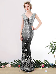 cheap -Mermaid / Trumpet V-neck Floor Length Sequined Formal Evening Dress with Sequins by SG