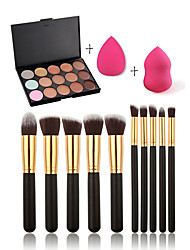 cheap -15 Concealer/Contour+Concealer+Others+Powder Puff Makeup Brushes Wet Face Coverage Concealer Uneven Skin Tone Natural Pore-Minimizing