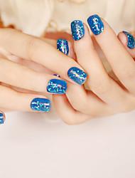 24pcs / set strisce unghie breve paragrafo moda blu paillettes sexy