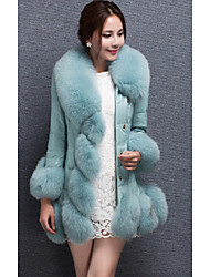 Cappotto di pelliccia Da donna Casual Inverno Semplice,Tinta unita Tipi di pelli speciali Blu / Nero / Viola Manica lunga