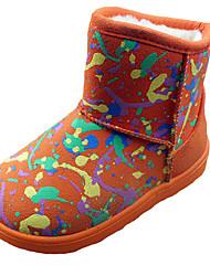 Girl's Boots Fall Winter Comfort Fabric Casual Dress Flat Heel  Black Pink Red Orange Walking