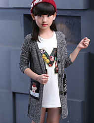 cheap -Girls' Daily Print Sweater & Cardigan,Cotton Fall Long Sleeve Gray Red